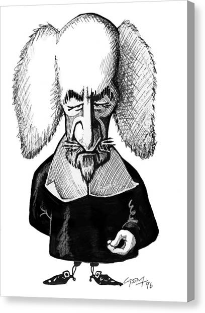 Atheism Canvas Print - Thomas Hobbes, Caricature by Gary Brown