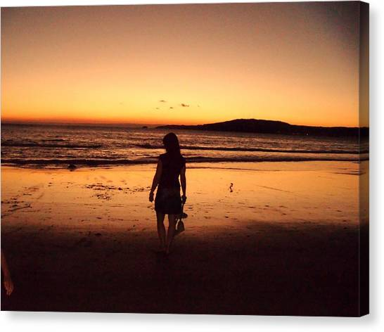 Thoughtful Woman In The Beach Canvas Print by Jenny Senra Pampin