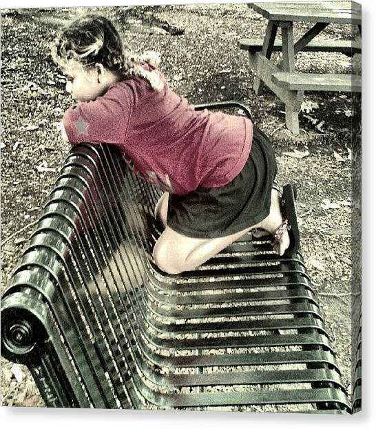 Innocent Canvas Print - Thoughts On A Park Bench  by Andi Lockett-johnson