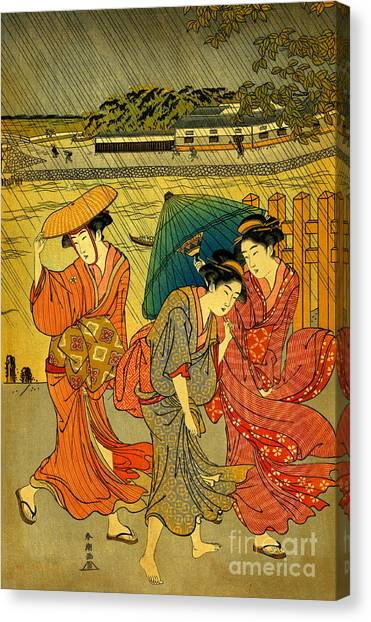 Three Beauties In The Rain 1788 Canvas Print by Padre Art