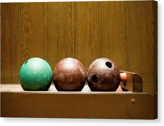 Bowling Alley Canvas Print - Three Bowling Balls by Benne Ochs