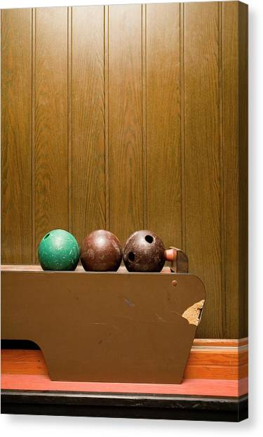Bowling Alley Canvas Print - Three Bowling Balls In Bowling Alley by Benne Ochs