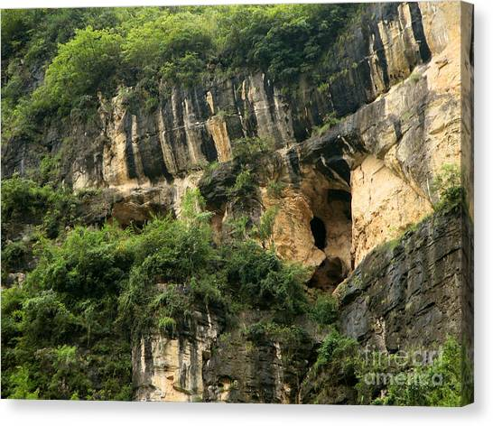 Mountain Caves Canvas Print - Three Gorges Of The China Yangtse River  by Eva Kaufman