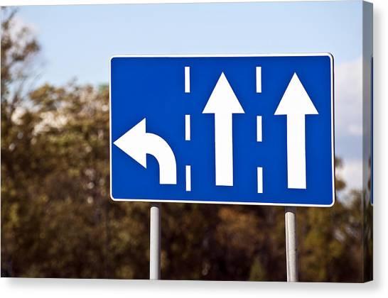 Turn Signals Canvas Print - Three-lane Traffic Sign. by Fernando Barozza