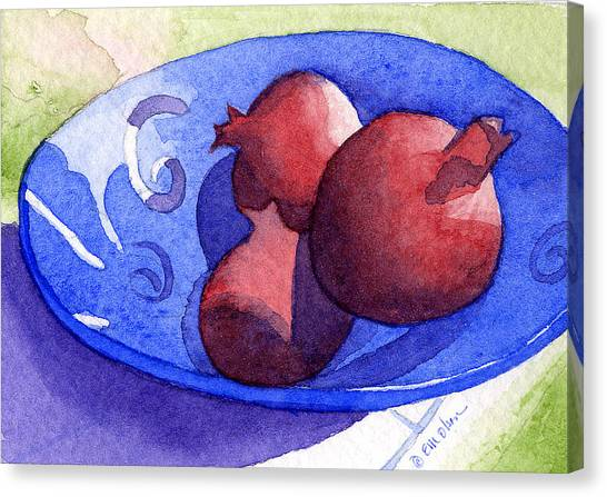 Three Poms In Blue Bowl Canvas Print by Eunice Olson
