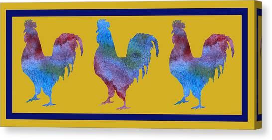 Folk Art Canvas Print - Three Roosters by Jenny Armitage