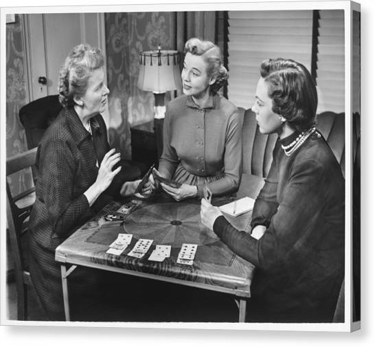 Three Women Playing Cards At Home, (b&w) Canvas Print by George Marks