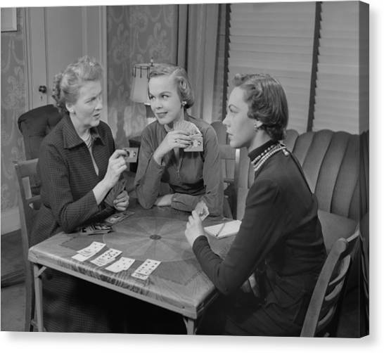 Three Women Playing Cards In Living Room Canvas Print by George Marks