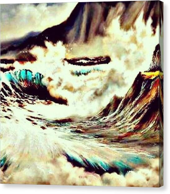 Ocean Life Canvas Print - Tide Crashing In. #beach #ocean #water by Mary Carter