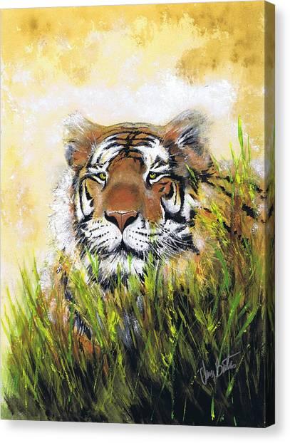 Tiger In Grass Canvas Print