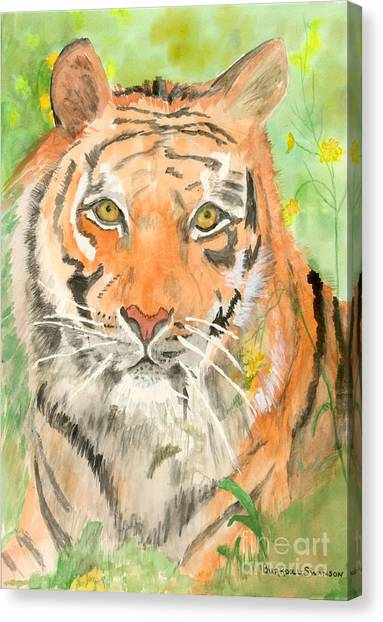 Tiger In The Meadow Canvas Print by Delores Swanson