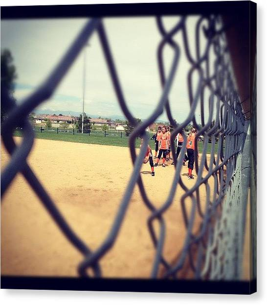 Softball Canvas Print - Tigers Warming Up by Wolf Stumpf