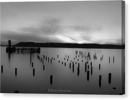 Tiltow Beach  In Black And White Canvas Print by Sarai Rachel