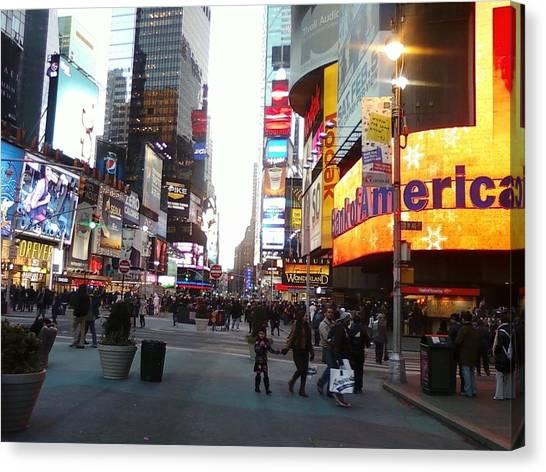 Time Square Canvas Print by Cecelia Taylor-Hunt
