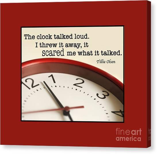Time Talks Canvas Print by Nancy Greenland