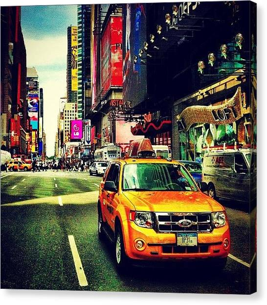 Times Square Canvas Print - Times Square Taxi by Luke Kingma
