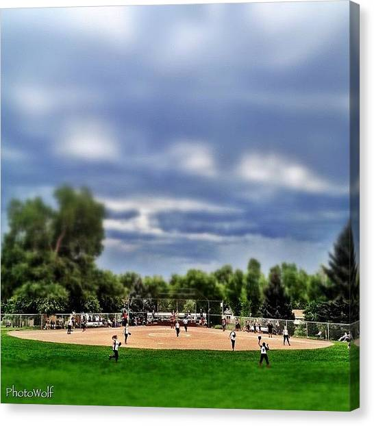 Wolves Canvas Print - Tiny Village Softball Game by Wolf Stumpf
