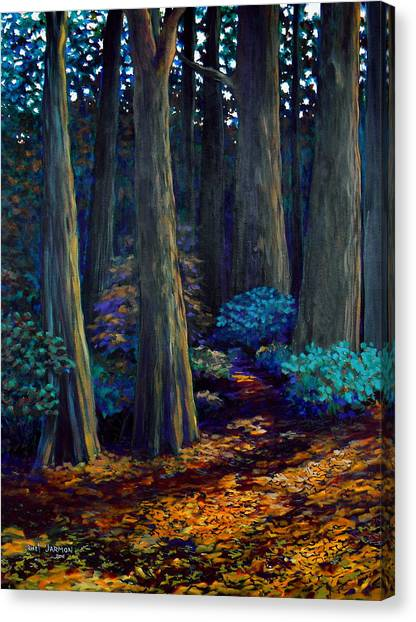 Canvas Print featuring the painting To The Woods by Jeanette Jarmon