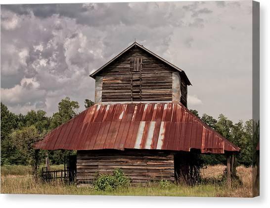 Tobacco Barn On Stormy Day Canvas Print