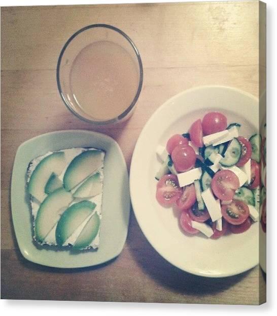 Vegetarian Canvas Print - Todays #dinner : Greek Salad, Avocado by Irina Bubnova