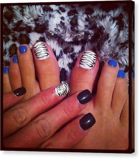Bikini Canvas Print - Toe And Nails Done :)!!! #zebra by Erika Hyndman