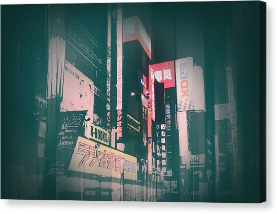 Traffic Canvas Print - Tokyo Lights by Naxart Studio