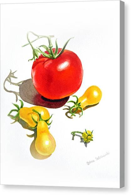 Cherry Tomato Canvas Print - Tomato Dance by Irina Sztukowski