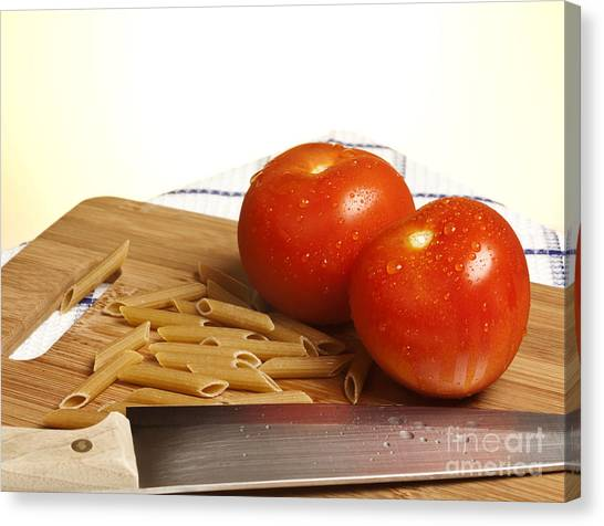 Spaghetti Canvas Print - Tomatoes Pasta And Knife by Blink Images