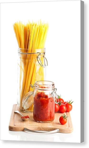 Spaghetti Canvas Print - Tomatoes Sauce And  Spaghetti Pasta  by Amanda Elwell