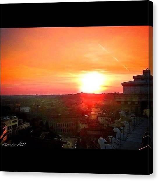 Sunrise Horizon Canvas Print - Toned Down A Bit. #sunset #instasky by Thomas MacEwen
