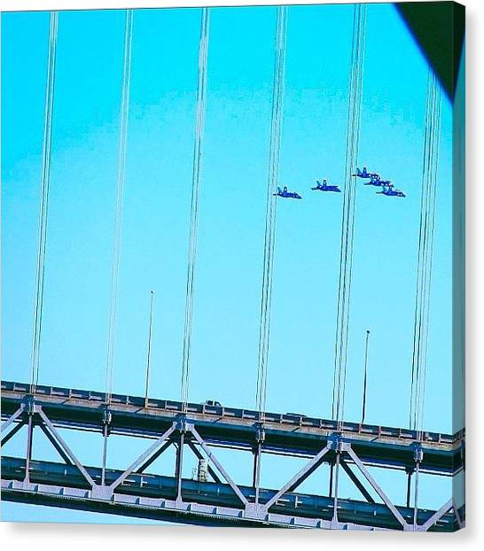 Jets Canvas Print - Took A Lucky Shot Of These Blue Angels by Karen Winokan
