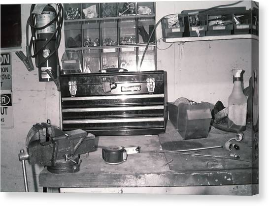 Tool Box And Clamp Work Area Canvas Print by Floyd Smith
