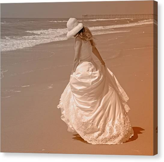 Wedding Gown Canvas Print - Topsail Gown by Betsy Knapp