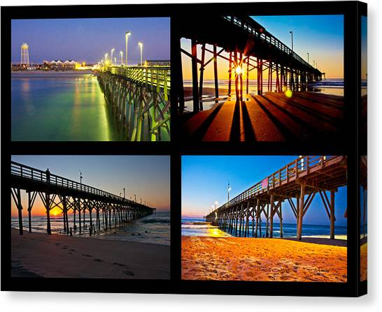 City Sunrises Canvas Print - Topsail Piers At Sunrise by Betsy Knapp