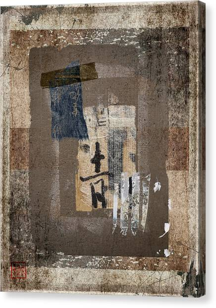 Torn Paper Collage Canvas Print - Torn Papers On Wall Number 3 by Carol Leigh