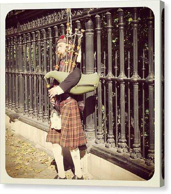 Bagpipes Canvas Print - #toronto #bagpipes #piper by Ruth Calder