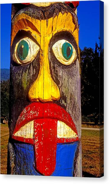 Tongue Canvas Print - Totem Pole With Tongue Sticking Out by Garry Gay