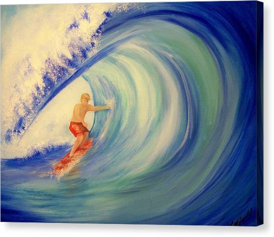 Touching The Wave Canvas Print by Lynda McDonald