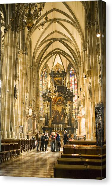 Tourists At Altar Of Stephansdom Canvas Print by Greg Elms