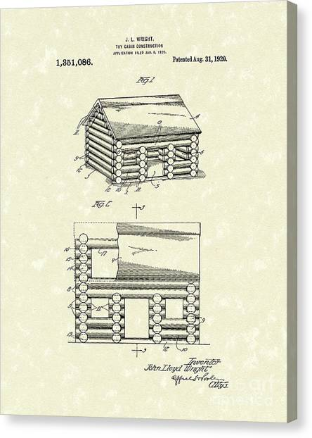 Log Cabin Canvas Print - Toy Cabin 1920 Patent Art by Prior Art Design