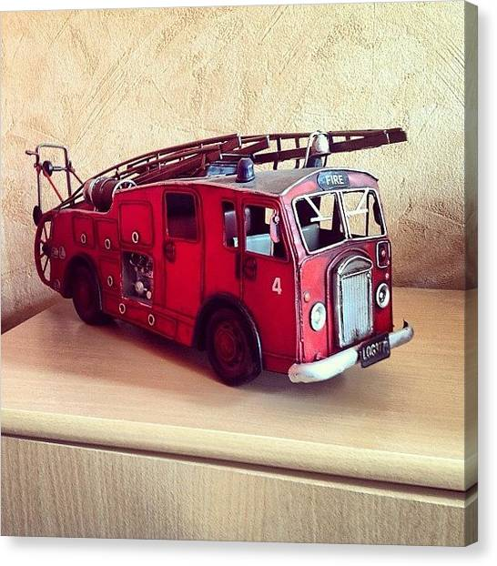Firefighters Canvas Print - Toy Fireengine #fire #feuer #feuerwehr by Schauls Laurent