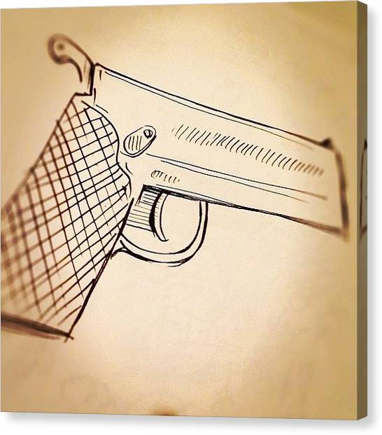 Brush Canvas Print - #toy #gun #sketch by Jeff Reinhardt