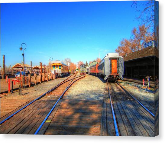 Tracks Along The River-hdr Canvas Print by Barry Jones