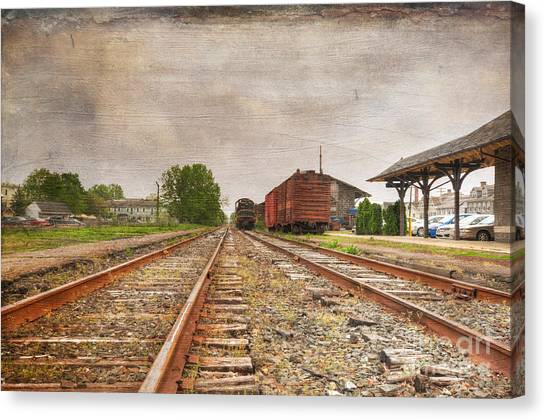 Train Conductor Canvas Print - Tracks By The Station by Paul Ward