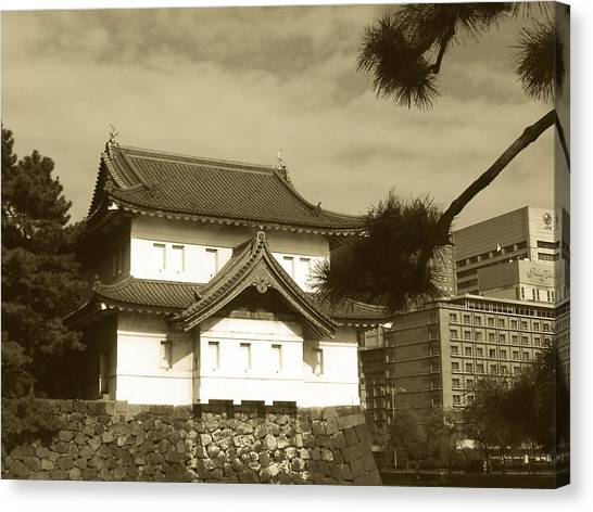 Palace Canvas Print - Traditional Building In Tokyo by Naxart Studio