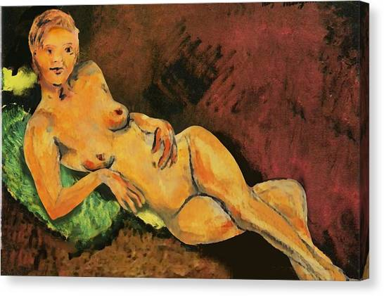 Traditional Modern Female Nude Reclining Canvas Print