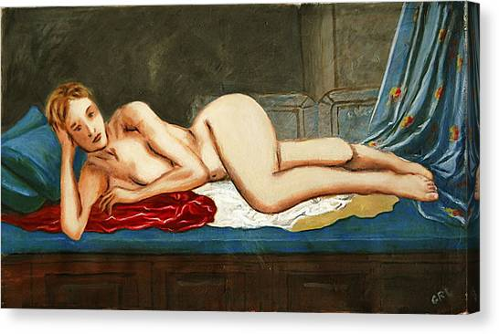 Traditional Modern Female Nude Reclining Odalisque After Ingres Canvas Print