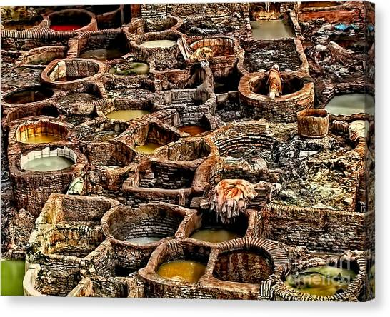 Traditional Moroccan Leather Tannery  Canvas Print