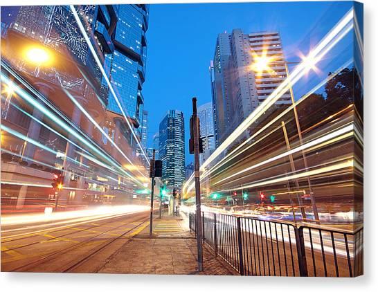 Stoplights Canvas Print - Traffic Night by Cozyta