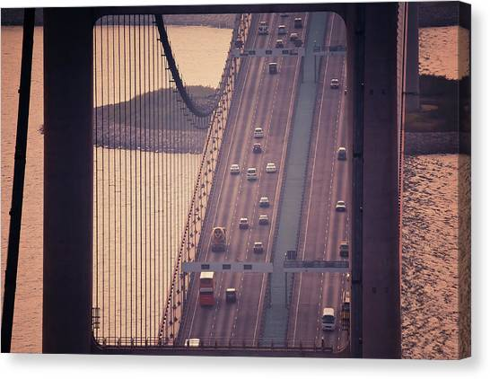 Traffic On Tsing Ma Bridge, Hong Kong, China Canvas Print by Yiu Yu Hoi